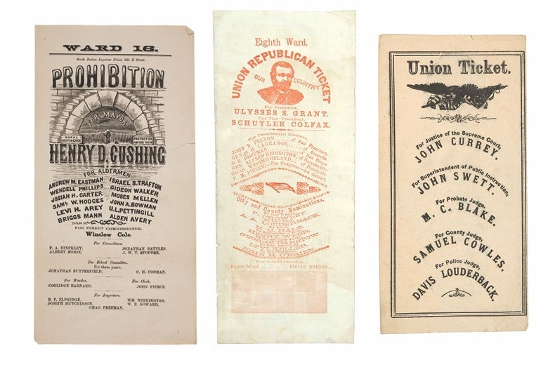 Three 1860s-era voting ballots