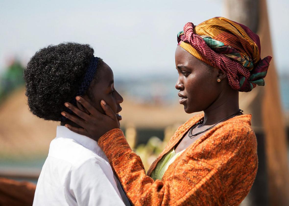 Lupita Nyong'o and Madina Nalwanga in Queen of Katwe.