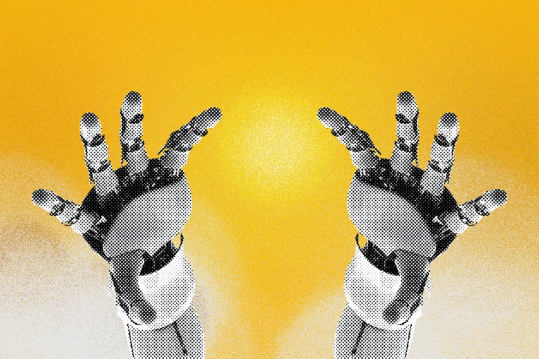 Robot hands reaching toward a golden heaven