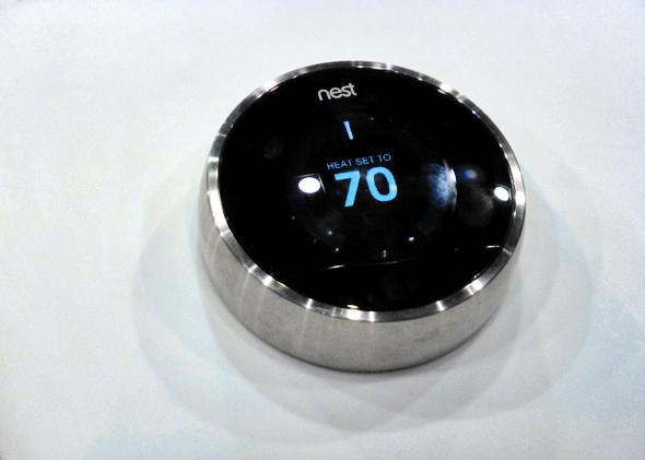 Nest thermostat at the 2013 Consumer Electronics Show in Las Vegas.