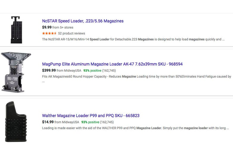 Magazine loaders on Google Shopping.