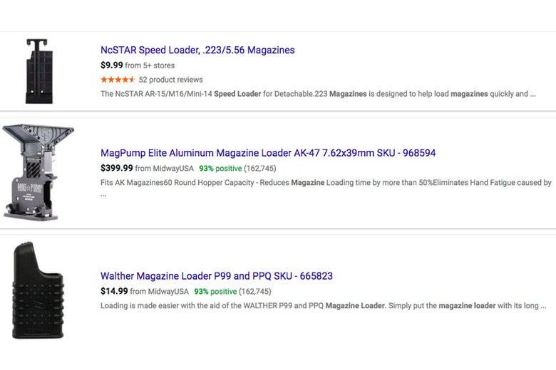 Magazine loaders on Google Shopping.
