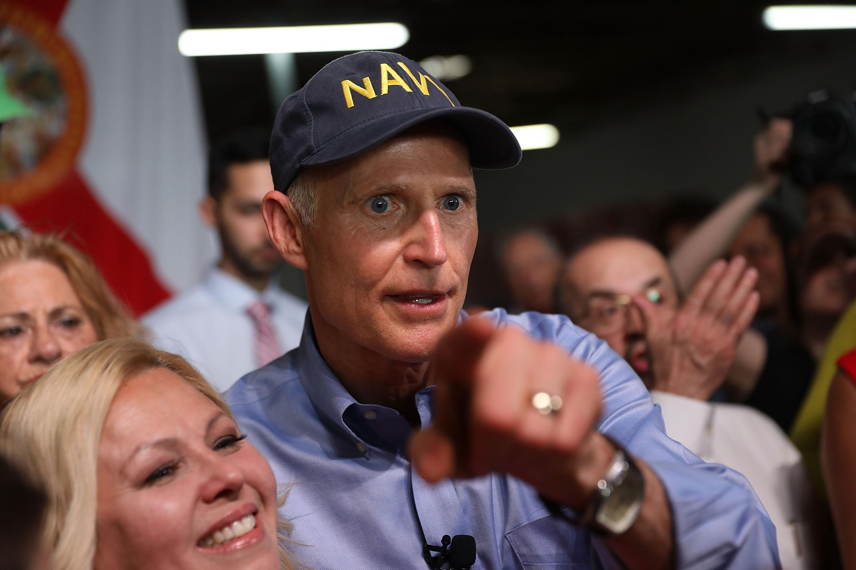 HIALEAH, FL - APRIL 10:  Florida Governor Rick Scott greets people as he holds a Senate campaign rally at the Interstate Beverage Corp. on April 10, 2018 in Hialeah, Florida. Scott is facing off against the incumbent Democrat Sen. Bill Nelson (D-FL) for the Florida seat.  (Photo by Joe Raedle/Getty Images)