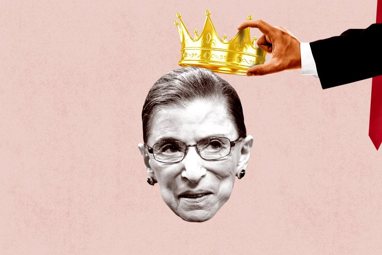 Donald Trump's hand stealing RBG's crown.