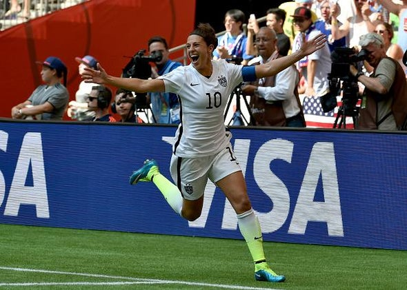 b164b2e7b50 Carli Lloyd celebrates after scoring two goals in five minutes against  Japan in the Women s World Cup final.