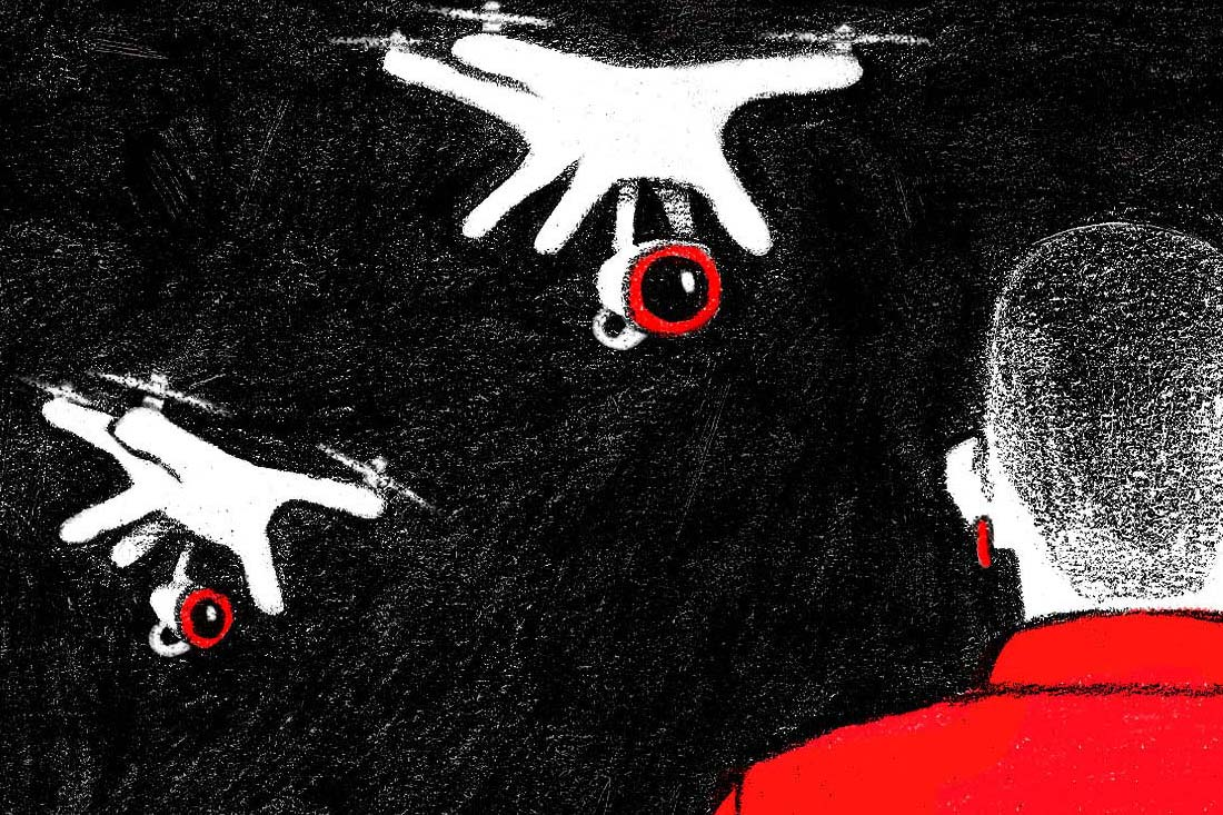 Drones with cameras spy on a person.