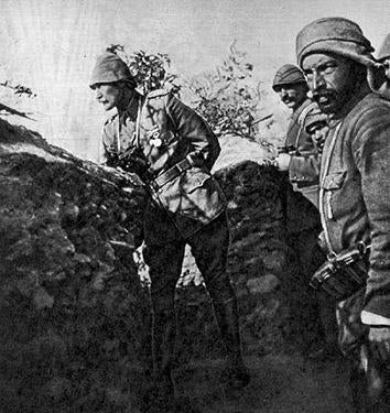 Mustafa Kemal (Atatürk) at the trenches of Gallipoli during the First World War in 1915.