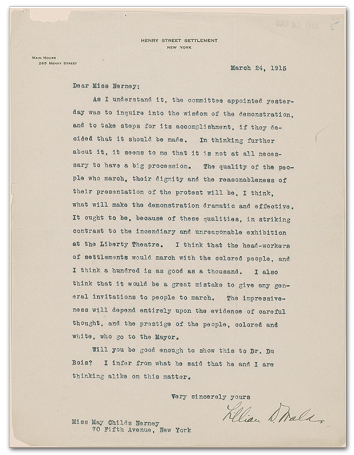 Letter from Lillian Wald to May Childs Nerney concerning the protest of D.W. Griffith's film Birth of a Nation.