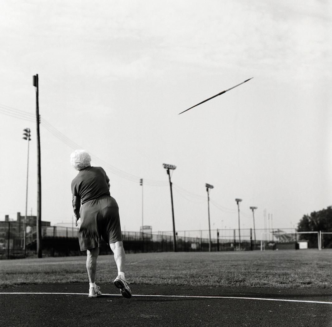 Javelin thrower Helen Beauchamp, 87, of Memphis, Tennessee. 2007 Senior Olympics, Louisville, Kentucky. 2007.
