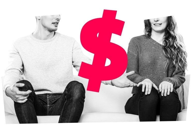 One person reaches out to another, looking uncomfortable. An illustrated dollar symbol is superimposed on top.
