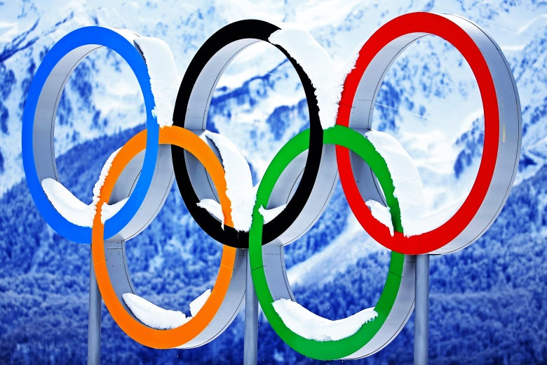 Snow collects on the Olympic Rings on the 12th day of the 2014 Sochi Winter Olympics at Laura Cross-Country Ski & Biathlon Center on Feb. 19, 2014, in Sochi, Russia.