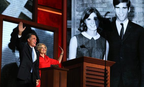 Republican presidential candidate, former Massachusetts Gov. Mitt Romney joins his wife, Ann Romney on stage during the Republican National Convention.