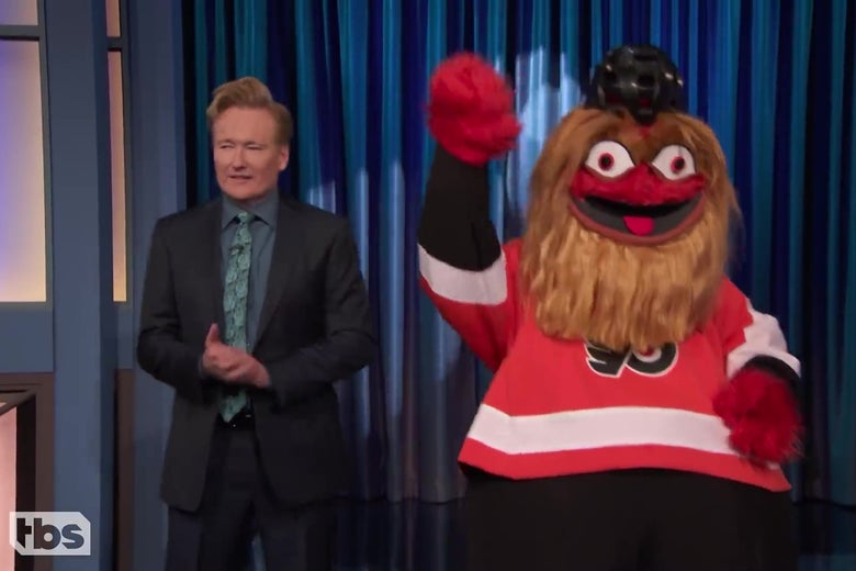 Conan O'Brien brings out Gritty.