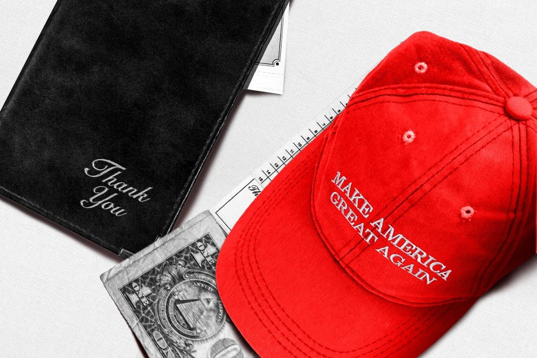 A red MAGA hat sitting on top of a restaurant bill and a one dollar tip next to a black leather bill presenter on a white tablecloth