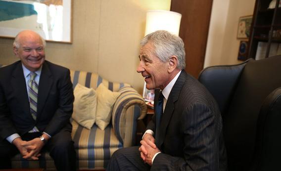 Secretary of Defense nominee and former U.S. Sen. Chuck Hagel (right) meets with Sen. Ben Cardin