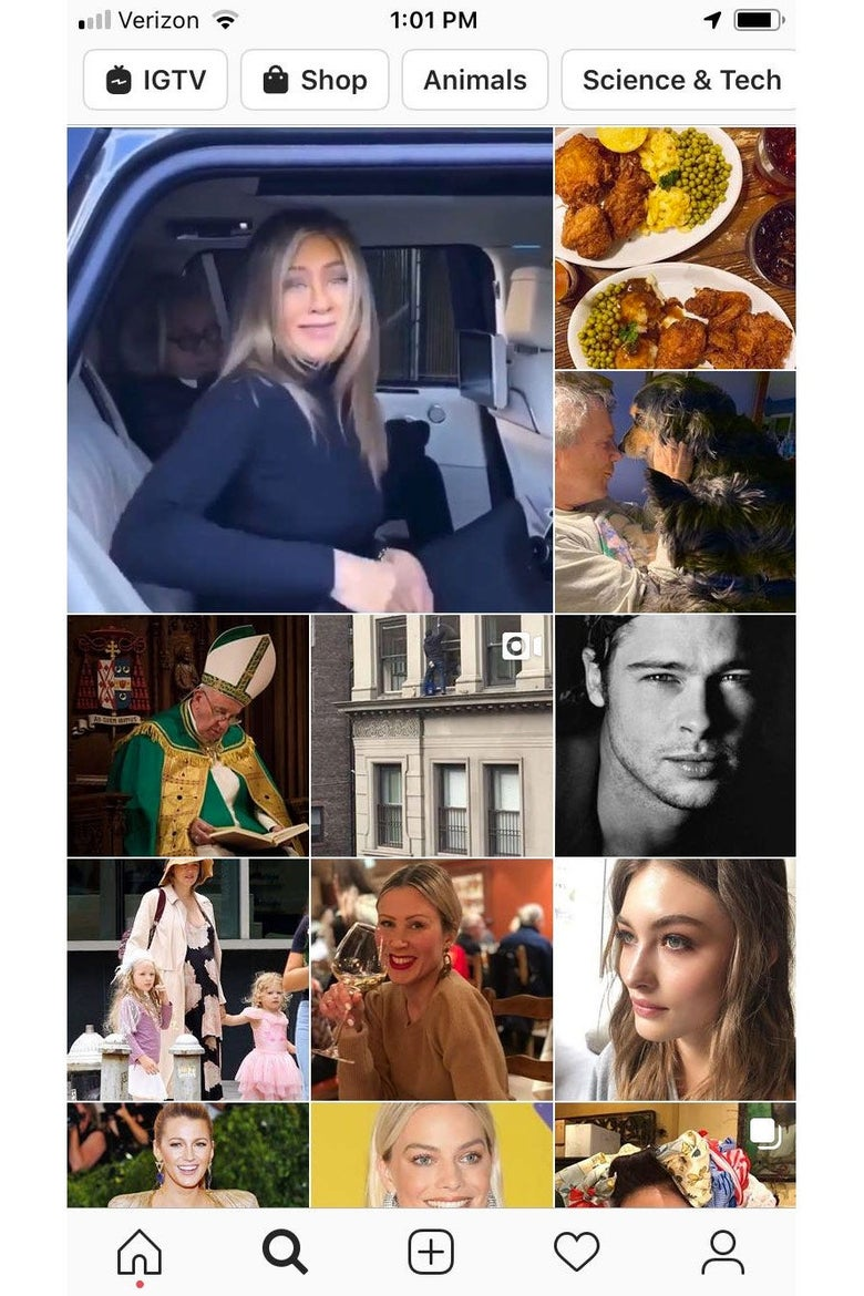 Screenshot of an Instagram Explore feed, featuring photos of Jennifer Aniston, Brad Pitt, other celebrities, and food.