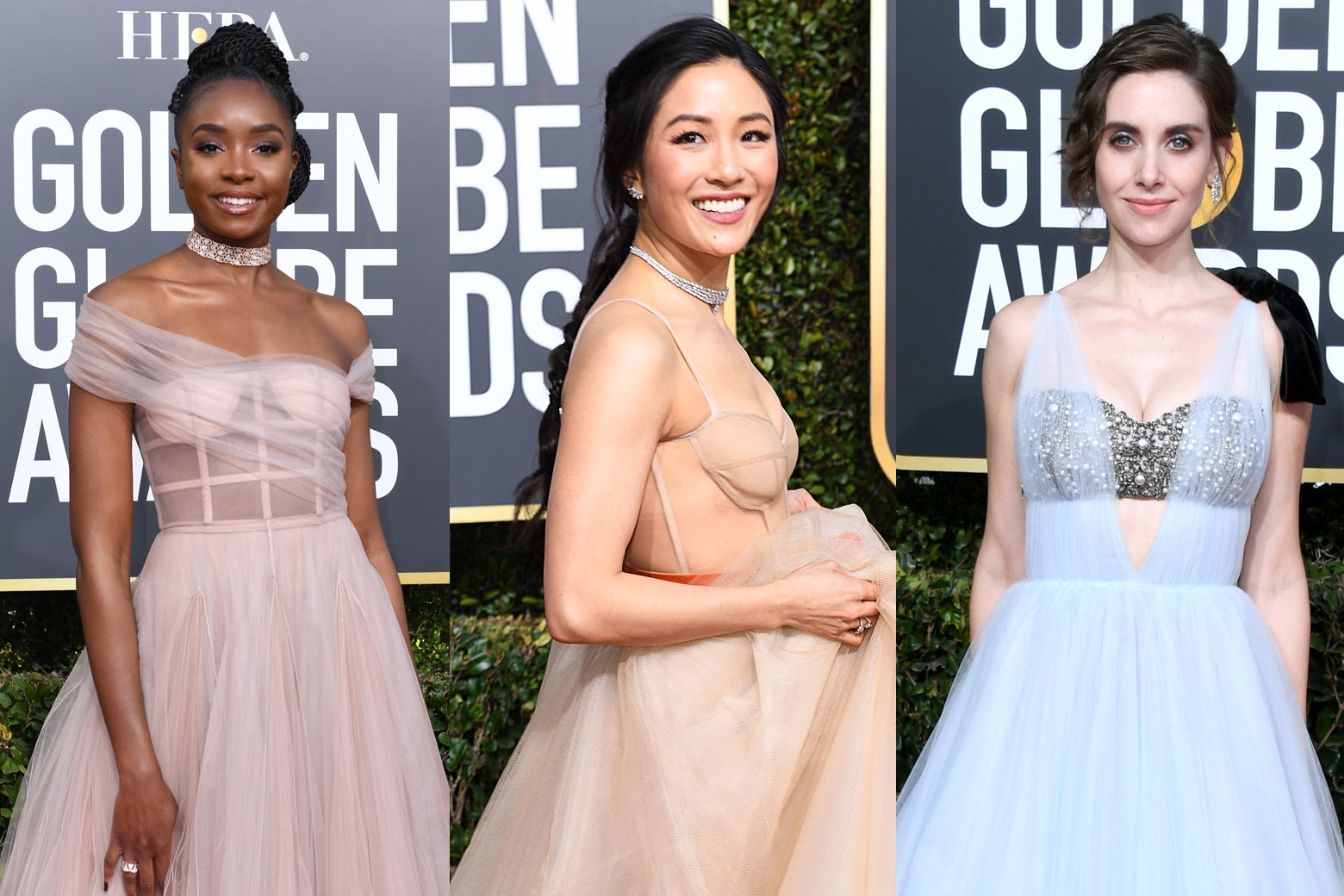 Kiki Layne, Constance Wu, and Alison Brie at the 2019 Golden Globes.