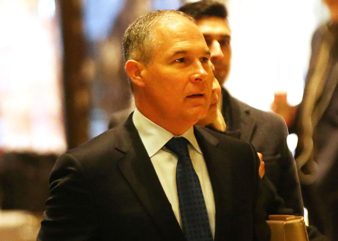 Oklahoma Attorney General Scott Pruitt arrives at Trump Tower on December 7, 2016 in New York City. Potential members of President-elect Donald Trump's cabinet have been meeting with him and his transition team of the last few weeks.