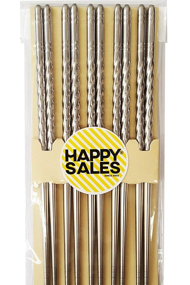 Happy Sales HSCSS4, 10-Piece Stainless Steel Chopsticks