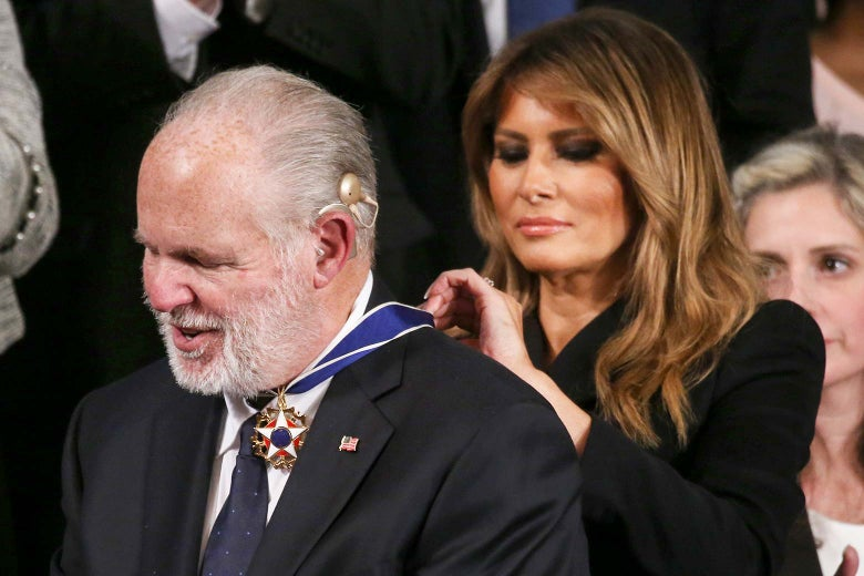 Rush Limbaugh reacting as Melania Trump places the Presidential Medal of Freedom around his neck.