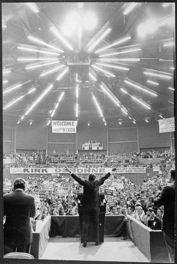 Richard M. Nixon speaking to a crowd in Florida, October 1970.