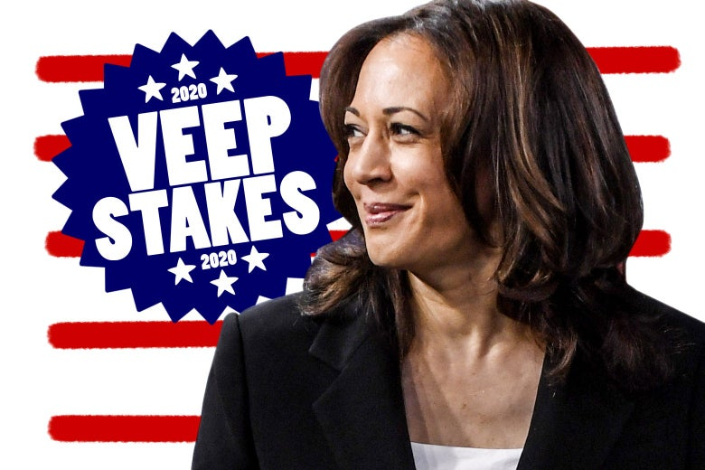 "Kamala Harris, on a background with a badge that says ""2020 Veepstakes."""