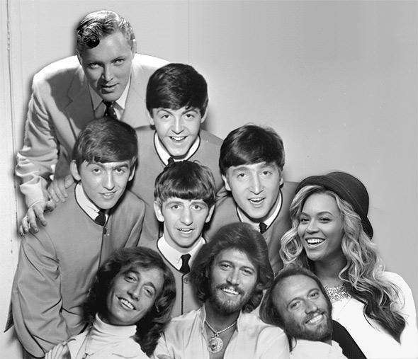 Bill Haley, The Beatles, Beyonce and The Beegees.