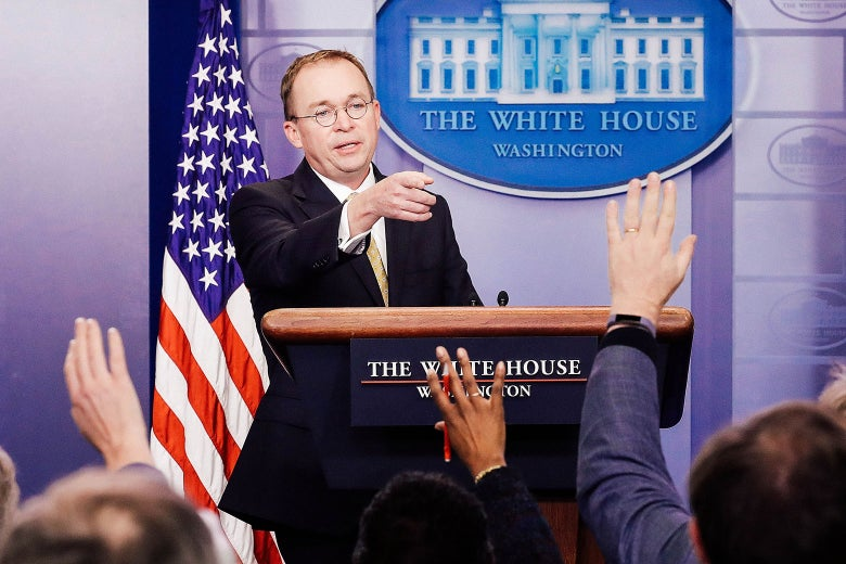 Office of Management and Budget Director Mick Mulvaney talks to reporters during a news conference about the ongoing partial shutdown of the federal government at the White House on Jan. 20 in Washington.