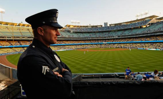 A Los Angeles Police Department officer at Dodger Stadium