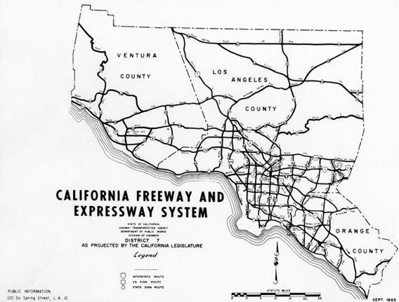 California freeway and expressway system as projected by the California legislature in Sept. 1965.