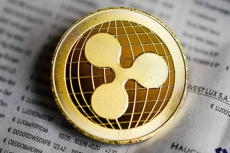 Ripple cryptocurrency coin.