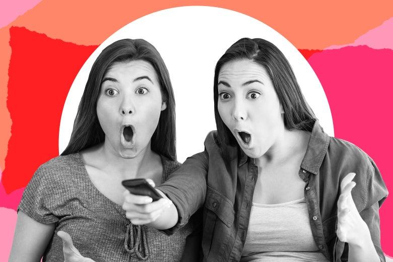 Two teen girls looking scandalized watching TV.