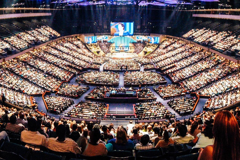 The crowd at a megachurch.