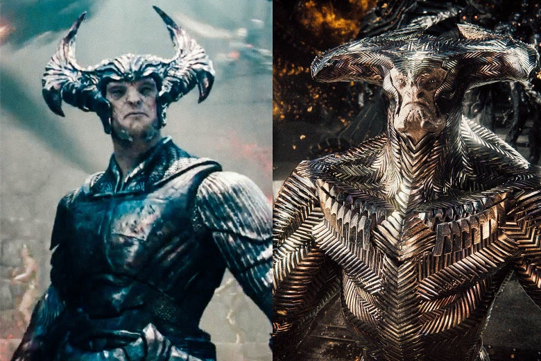 Steppenwolf from Joss Whedon's version and from Zack Snyder's version.