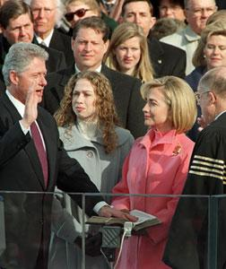 U.S. President Bill Clinton is sworn in January 20, 1997. Click image to expand.