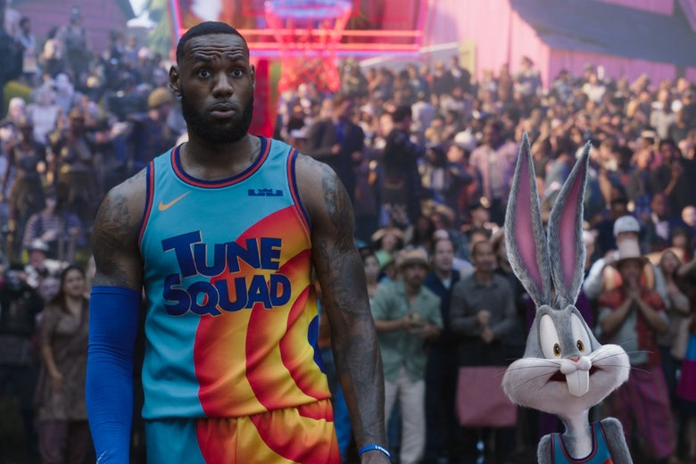 LeBron James and Bugs Bunny in basketball uniforms.
