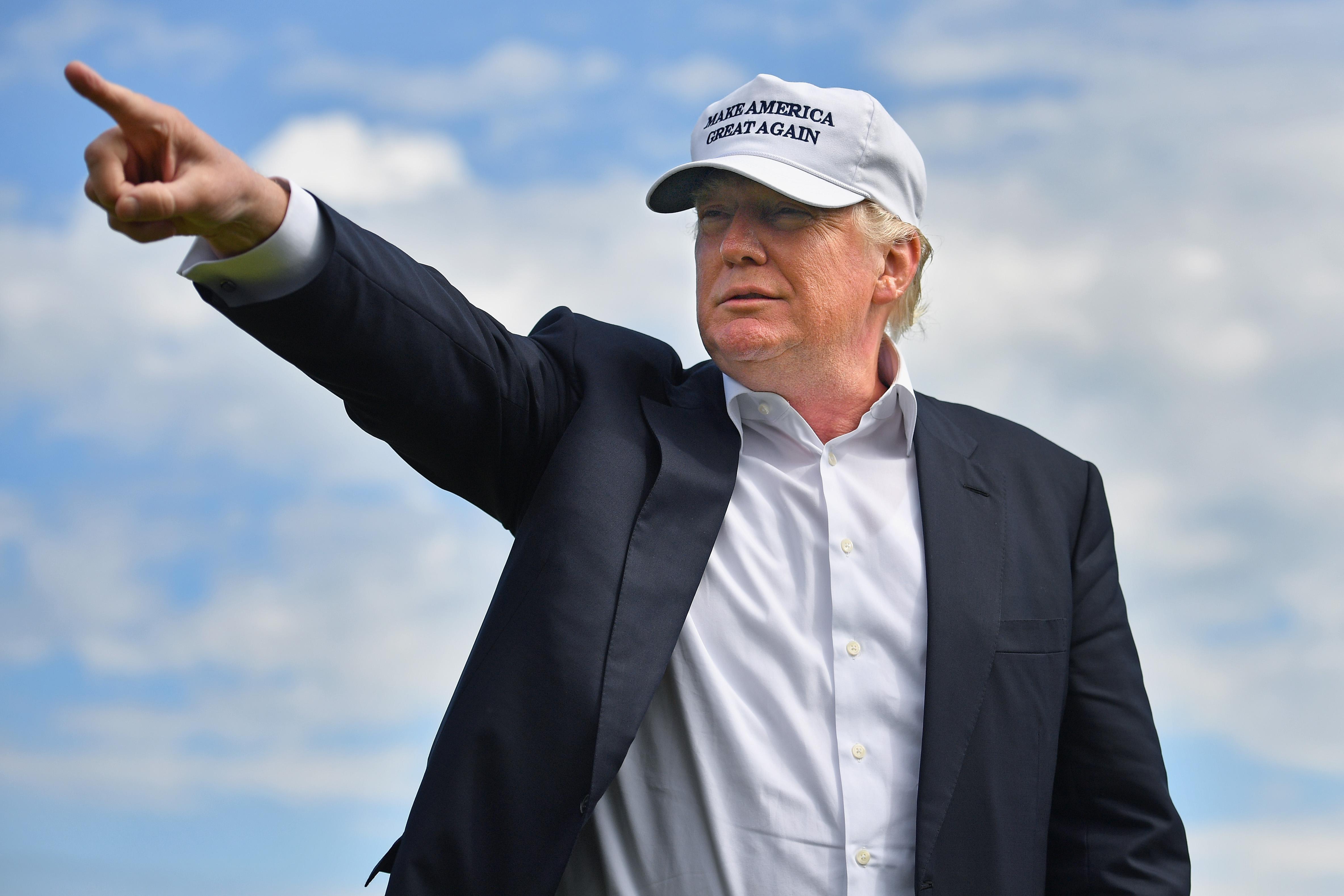 Donald Trump visits Trump International Golf Links on June 25, 2016 in Aberdeen, Scotland.