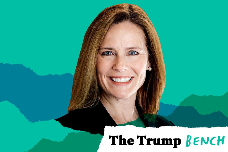 "Amy Coney Barrett with text in the bottom right corner that says, ""The Trump Bench."""