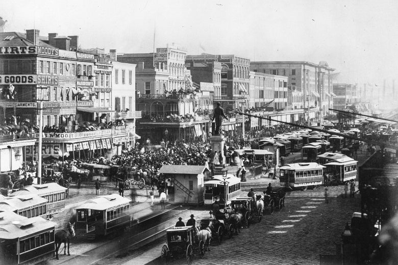 A view of a busy 19th-century street in New Orleans