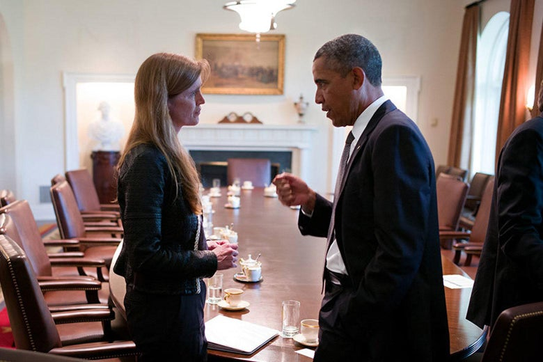 President Obama speaks with Samantha Power in a scene from The Final Year.