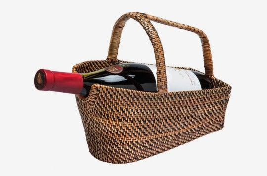 Kouboo wine bottle basket and decanter.