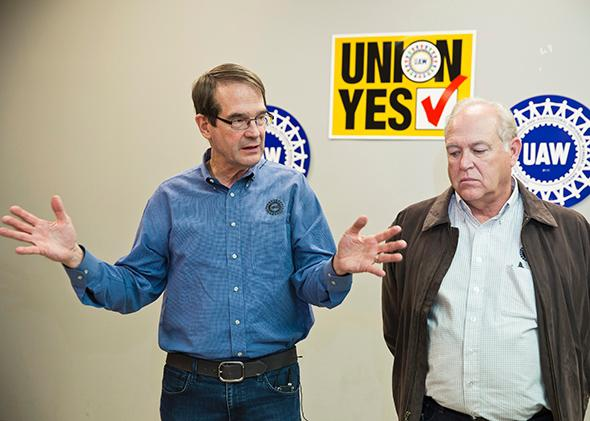 United Auto Workers President Bob King (L) and Secretary-Treasurer Dennis Williams