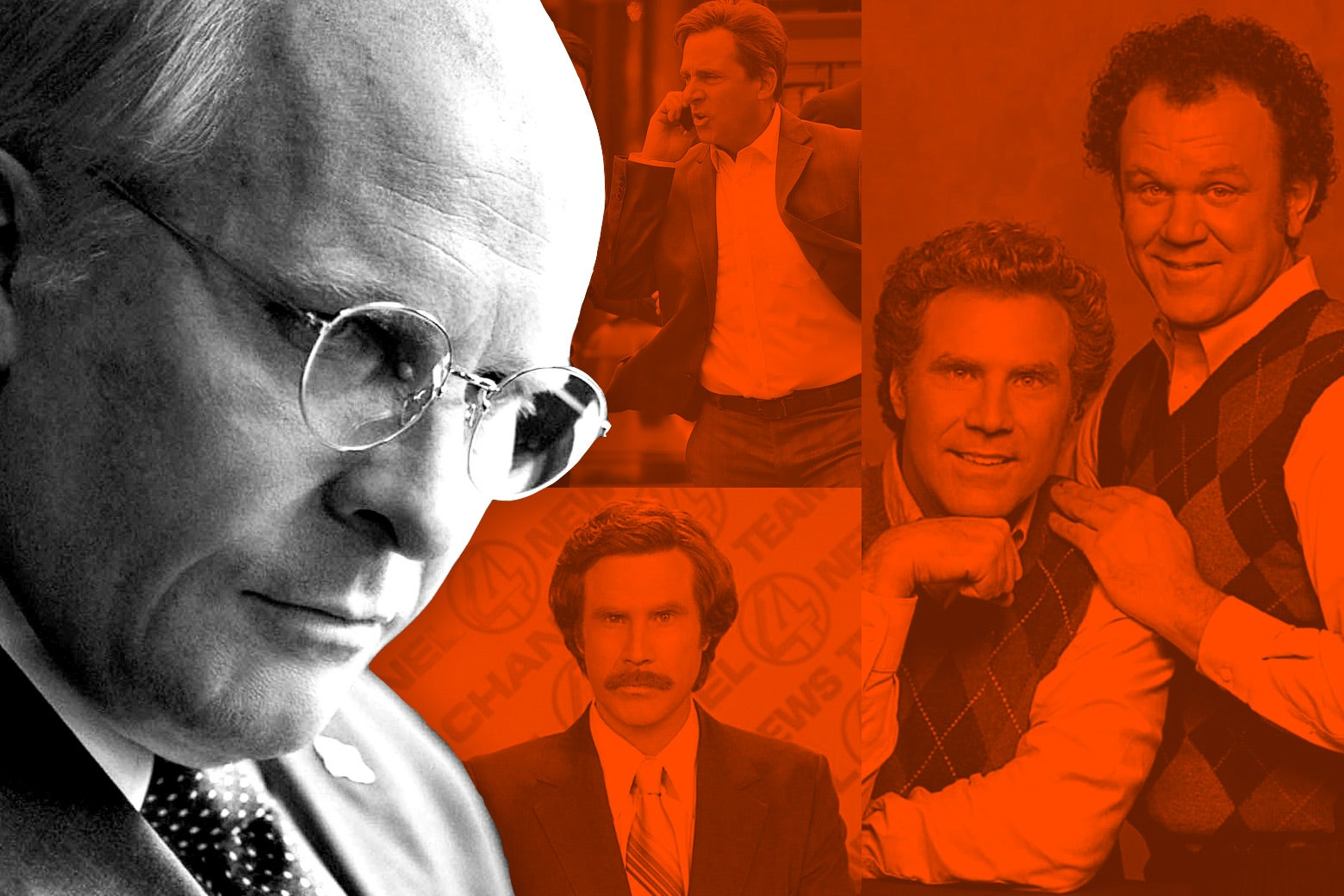 Photo illustration of various Adam McKay films, including Christian Bale as Dick Cheney, Anchorman, and Step-Brothers