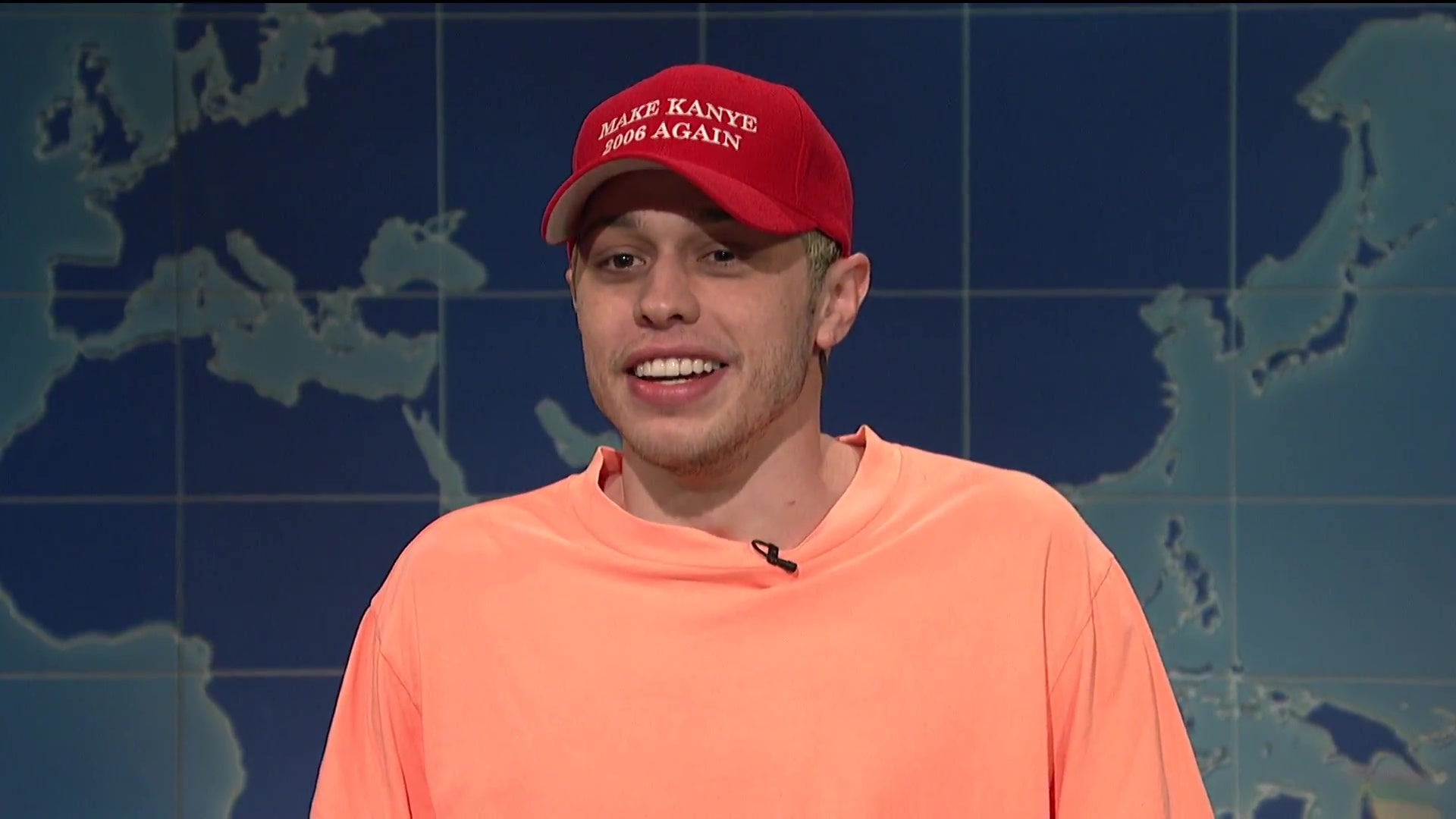 "Pete Davidson, wearing a hat that reads ""Make Kanye 2006 Again."""