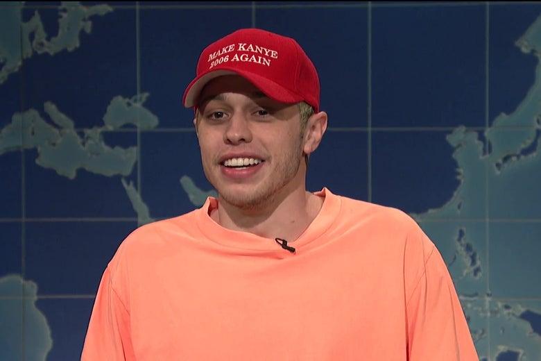"Pete Davidson, wearing a hat that reads ""Make Kanye 2006 Again."""