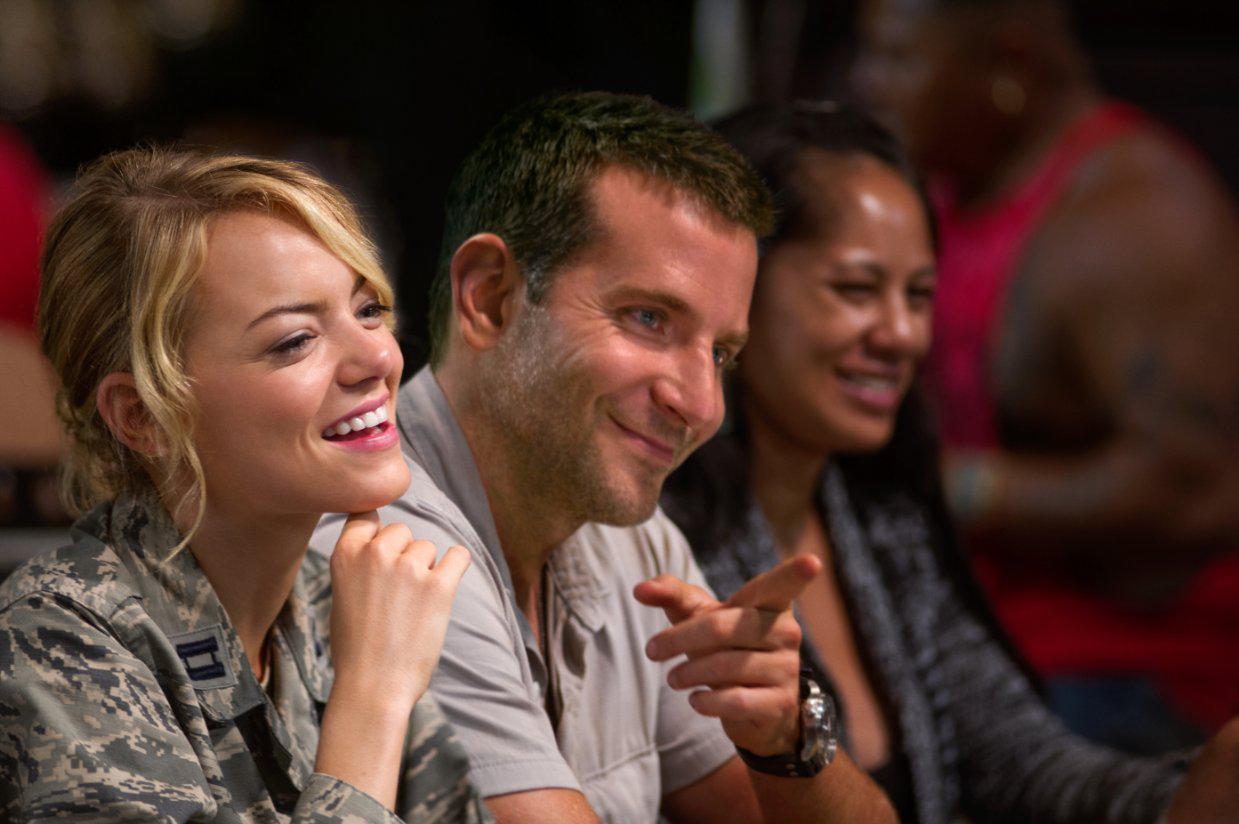 Emma Stone (26) and Bradley Cooper (40) in Aloha.