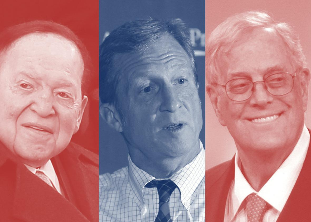 Big donors to political campaigns Sheldon Adelson, Tom Steyer, and David H. Koch.