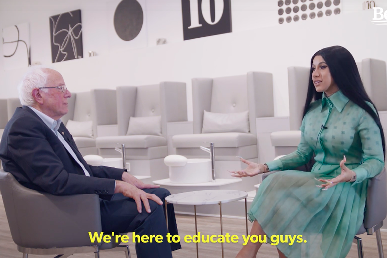 Bernie Sanders and Cardi B Hit the Nail Salon to Discuss the Issues