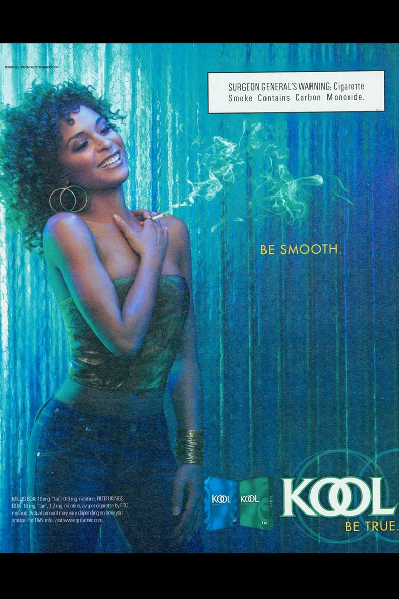 An ad depicting a curly-haired Black woman smoking a KOOL cigarette.
