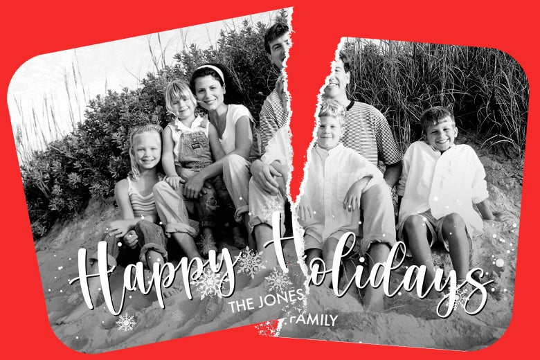 A smiling family on a Christmas card, torn in half.